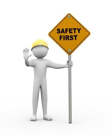 사람이 중지 제스처를 만드는 및 안전 첫번째 도로 표지판을 들고의 3d 렌더링. 3 차원 백인 남자 캐릭터