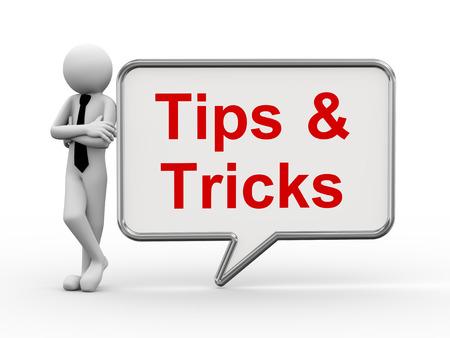 3D-Rendering von Business stehende Person mit Tipps Tricks Blase Rede 3D-weiße Menschen Mannzeichen Standard-Bild - 28020038