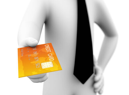 paying: 3d rendering of business person paying with golden credit card  3d white people man character