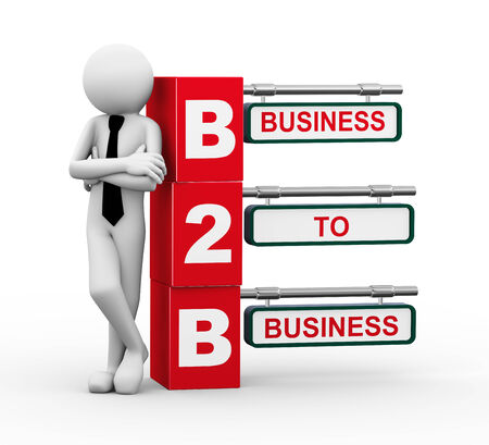 b2e: 3d rendering of business person standing with b2b - business to business  3d white people man character