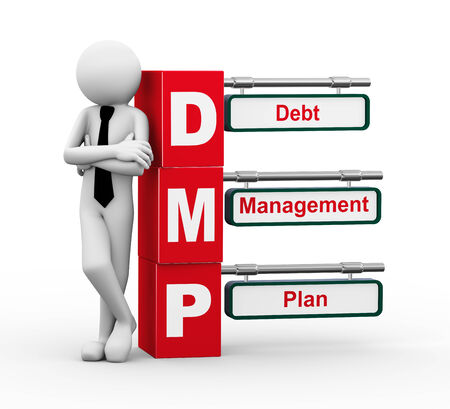 debt management: 3d rendering of business person standing with dmp - debt management plan  3d white people man character