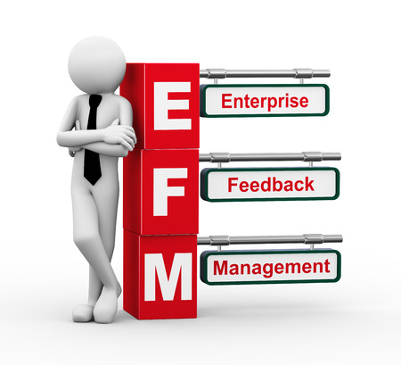 permission: 3d rendering of business person standing with efm - enterprise feedback management. 3d white people man character. Stock Photo