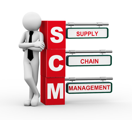3d rendering of business person standing with scm -  supply chain management  3d white people man character