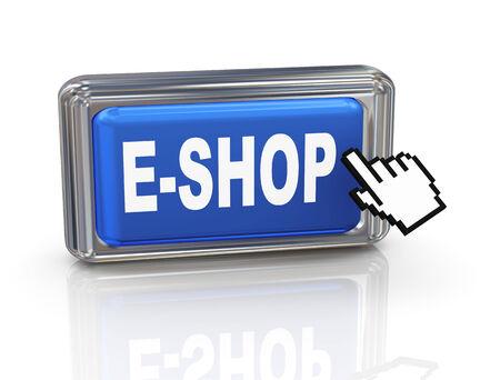 3d render of hand cursor pointer click on e-shop button Stock Photo