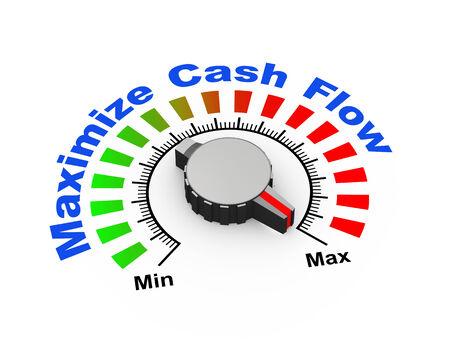 maximize: 3d illustration of knob set at maximum for maximize cash flow Stock Photo