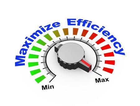 boosting: 3d illustration of knob set at maximum for efficiency