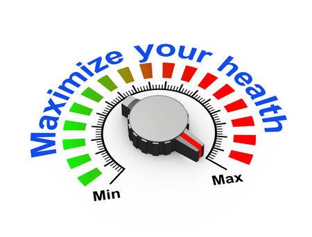 maximize: 3d illustration of knob set at maximum for maximize your health