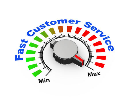 response time: 3d illustration of knob set at maximum for fast customer support