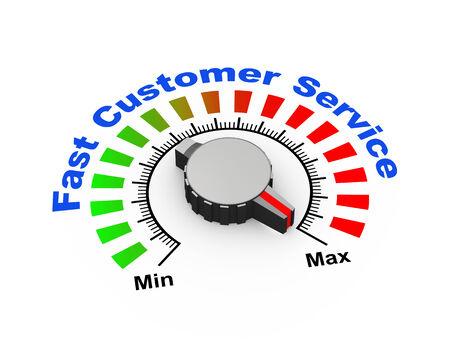 satisfy: 3d illustration of knob set at maximum for fast customer support