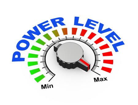 3d illustration of knob set at maximum for power level illustration