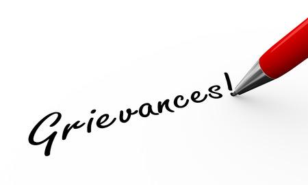 3d rendering of pen writing grievances