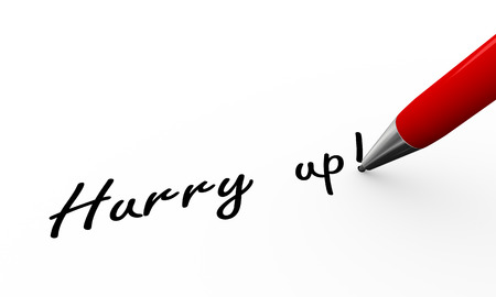 hurrying: 3d rendering of pen writing thank you on paper Stock Photo
