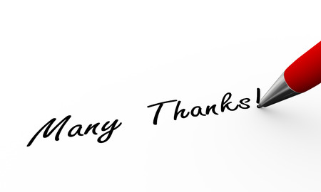 many thanks: 3d rendering of pen writing many thanks