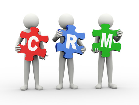 crm - 顧客関係管理のパズルのピースを持っている人の 3 d レンダリングします。3 d の白人男性キャラクター。