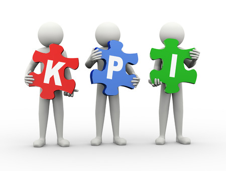 3d rendering of people holding puzzle pieces of kpi - key performance indicator. 3d white people man character photo