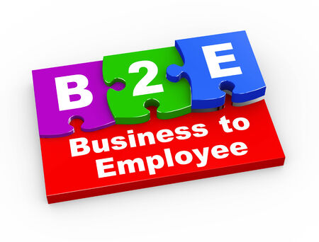 b2e: 3d rendering of puzzle pieces presentation of b2e - business to employee