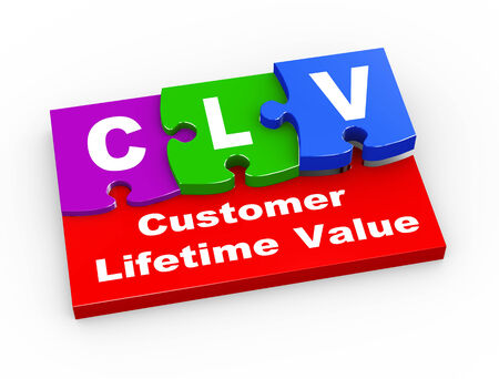 lifetime: 3d rendering of puzzle pieces presentation of clv  - customer lifetime value.
