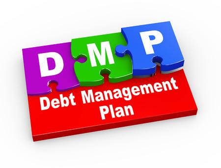 debt management: 3d rendering of puzzle pieces presentation of dmp - debt management plan