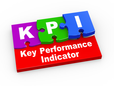 3d rendering of puzzle pieces presentation of kpi -  Key Performance Indicator photo