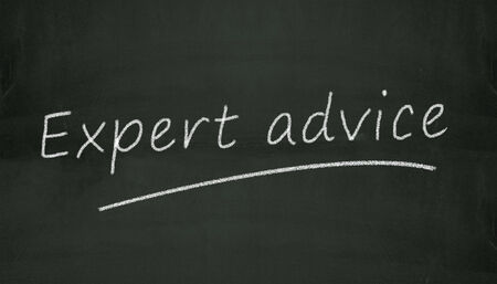 Illustration of expert advice written on black chalkboard illustration