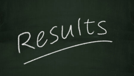 Illustration of results written on black chalkboard illustration
