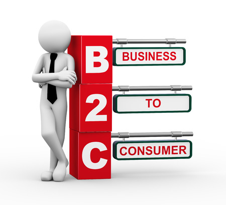 b2e: 3d rendering of business person standing with b2c - business to consumer. 3d white people man character