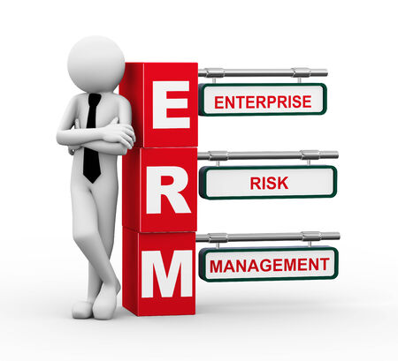 3d rendering of business person standing with erm - enterprise risk management. 3d white people man character.