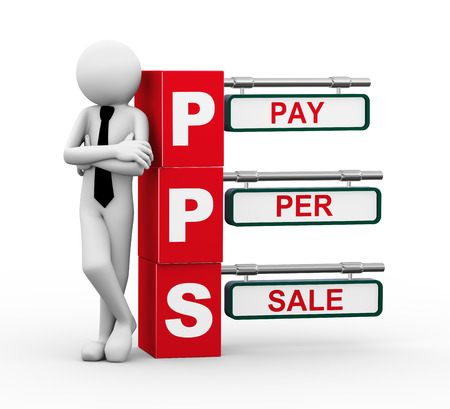 3d rendering of business person standing with pps - pay per sale. 3d white people man character photo