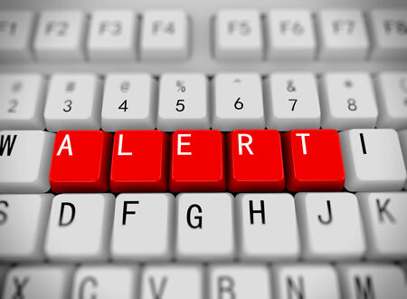 infect: 3d rendering of white computer keyboard with red buttons of word alert Stock Photo