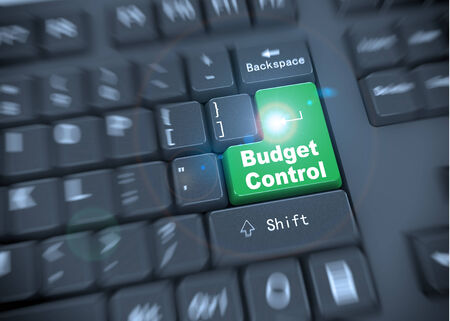 taxes budgeting: 3d rendering of black computer keyboard with green enter button of words budget control