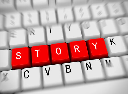 stories: 3d rendering of white computer keyboard with red buttons of word story