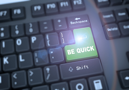 enter button: 3d rendering of black computer keyboard with green enter key having phrase be quick