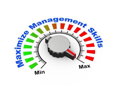 3d illustration of knob set at maximum for management skills
