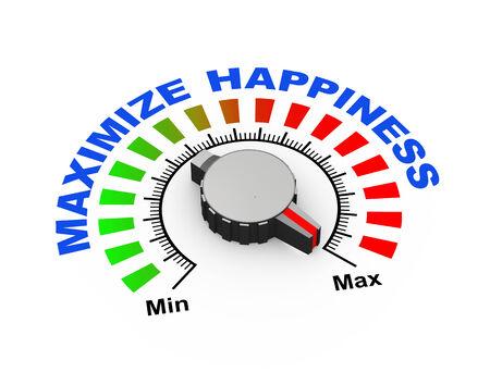 maximum: 3d illustration of knob set at maximum for maximize happiness