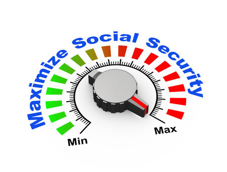 pension: 3d illustration of knob set at maximum for social security Stock Photo