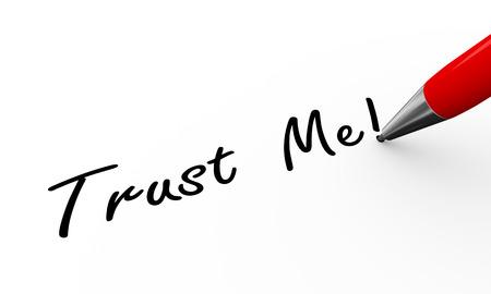 me: 3d rendering of pen writing trust me