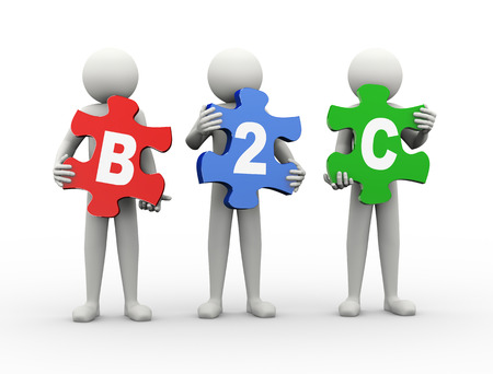 3d rendering of people holding puzzle pieces of b2c - business to consumer. 3d white people man character. photo