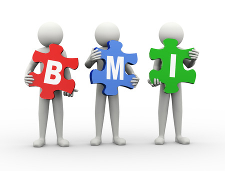 bmi: 3d rendering of people holding puzzle pieces of bmi - body mass index. 3d white people man character Stock Photo