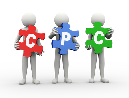 cpc: 3d rendering of people holding puzzle pieces of cpc - cost per click. 3d white people man character. Stock Photo