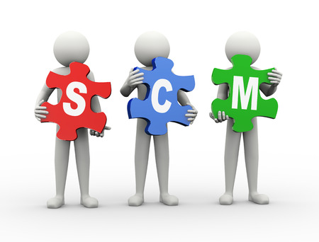 3d rendering of people holding puzzle pieces of scm - supply chain management. 3d white people man character photo