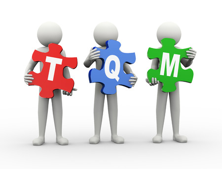 3d rendering of people holding puzzle pieces of tqm  - total quality management. 3d white people man character. photo