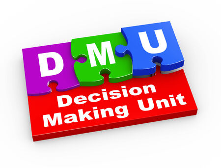 unit: 3d rendering of puzzle pieces presentation of  dmu - decision making unit