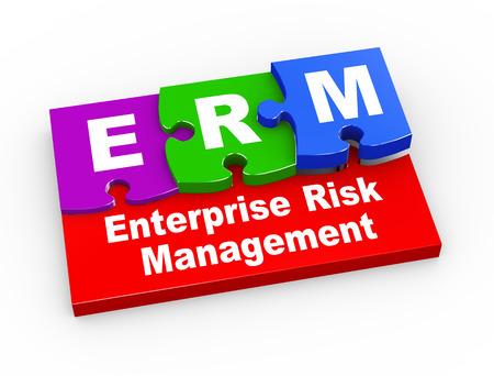 erm: 3d rendering of puzzle pieces presentation of  erm - enterprise risk management Stock Photo