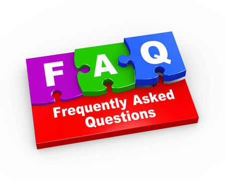 frequently: 3d rendering of puzzle pieces presentation of faq - frequently asked questions Stock Photo