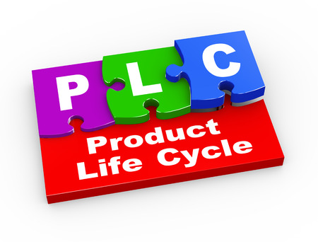 lifecycle: 3d rendering of puzzle pieces presentation of plc - product life cycle