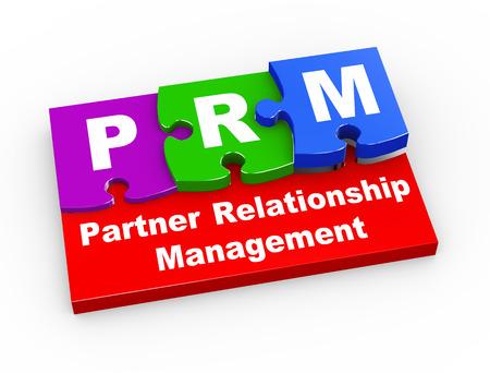 3d rendering of puzzle pieces presentation of  prm  - partner relationship management. photo