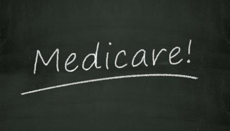 medicaid: Illustration of word medicate written on black chalkboard