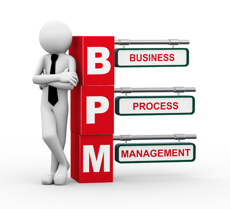 bpm: 3d rendering of business person standing with bpm - business process management  3d white people man character Stock Photo