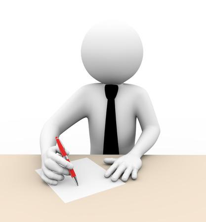 firmando: Las 3D de la persona de negocios por escrito en papel 3d personas de raza blanca hombre de carácter