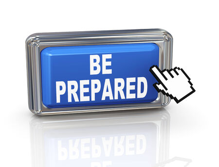 be prepared: 3d render of hand cursor pointer click on be prepared button
